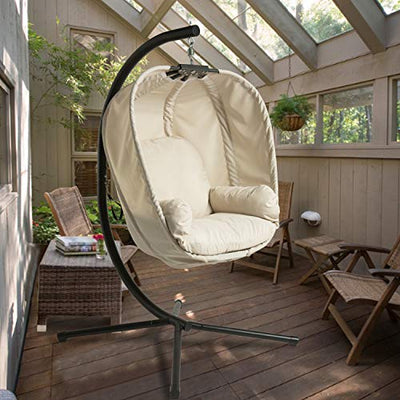 Aclumsy Large Hammock Egg Chair with Stand , Basket Swing Chair for Outdoor&Indoor