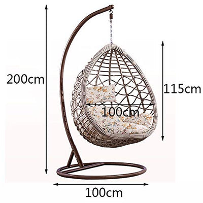 HOIHO Outdoor PE Rattan Egg-Shaped Hanging Chair, Swing Chair Hanging Hammock with Cushion Indoor/Outdoor Balcony Cradle Chair Load 200KG (Color : Gray)