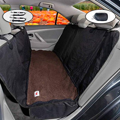 "The Ultimate Dog Car Seat Cover/Pet Hammock Soft Washable Dark Brown Fleece Dog Bed - 2 Piece Set - 58"" X 54"" Wide + Seat Flaps Fits Most Vehicles"