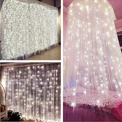 MZD8391 Curtain String Lights, 9.8 X 9.8ft 304 LED Starry Fairy Lights for Wedding, Bedroom, Bed Canopy, Garden, Patio, Outdoor Indoor (White curtain light)