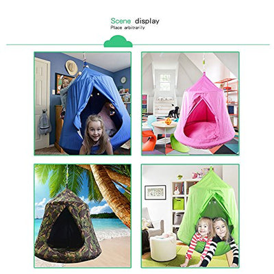 TopEva Waterproof Hanging Tree Tent Kids Sky Castle Paradise with Led Decoration Lights :Pink