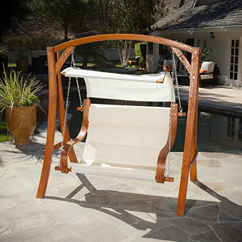 Hanging Wood Bench Love Seat Chair
