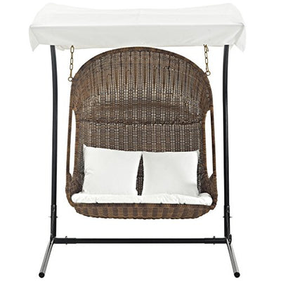 Modway Vantage Wicker Rattan Outdoor Patio Lounge Swing Chair