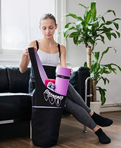 Cute Yoga Mat Holder with Bonus Yoga Mat Strap Elastics Holds More Yoga Accessories Long Tote with Pockets Zenifit Yoga Mat Bag Stylish and Practical Yoga Mat Bags and Carriers for Women