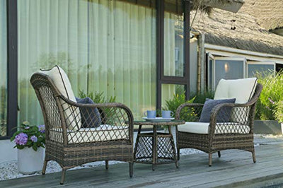 N&V Patio Outdoor Furniture Bistro Sets Mouldproof Wicker Chairs with Glass Tea Table Pillows & Waterproof Cushions for Outdoor or Indoor Use Porch Backyard Garden 3 Pieces