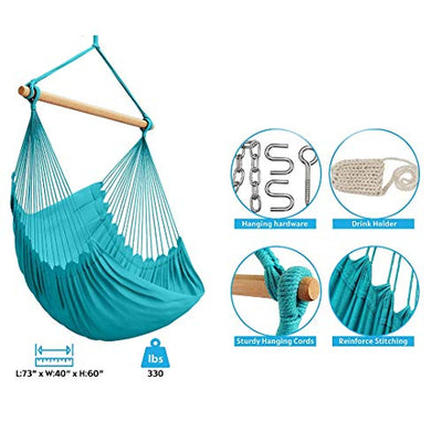 Hammock Sky XXL Hammock Chair Swing for Patio, Porch, Bedroom, Backyard, Indoor or Outdoor - Includes Hanging Hardware and Drink Holder (Limpet Shell)