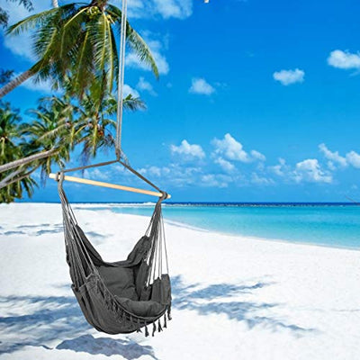 CCTRO Large Hammock Chair with Cushions and Pocket: Grey