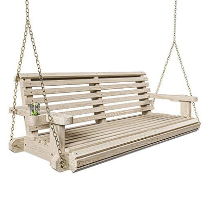 Porchgate Amish Heavy Duty 800 Lb Roll Comfort Treated Porch Swing W/Chains (4 Foot, Unfinished)