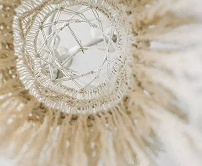 Macrame Fringed Lamp Shade: Off White