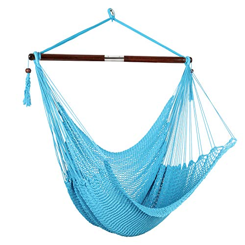 Bathonly Large Caribbean Soft Spun Cotton Rope Hammock Hanging Chair