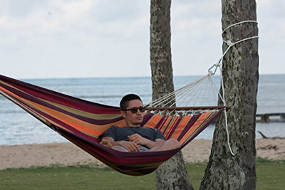 "Byer of Maine Brasilia Hammock, Handwoven, Polyester/Cotton Blend, tropical, Single Size, Spreader Bar, 126"" L X 55"" W, Holds up to 330lbs"
