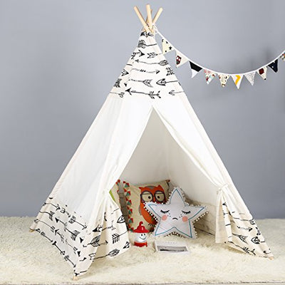 Steegic Kids Teepee Indoor Play Tent - Large Cotton Canvas Children Indian Tipi Playhouse with Carry Case