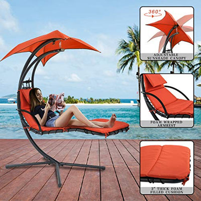 Outdoor Patio Lounge Chair with Canopy Umbrella: Orange