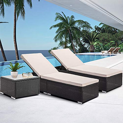 Bronze Tree Patio Wicker Rattan Lounger Chair Set of 2