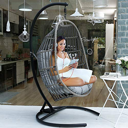 Wicker Rattan Swing Chai with Olefin Fabric Cushion