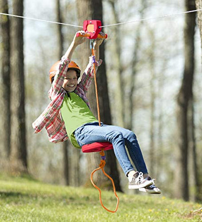 HearthSong 80' Red Kids' Backyard Zipline Kit with Adjustable Seat