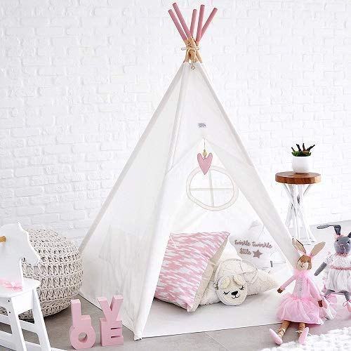 Hippococo Teepee Tent for Kids: Large Sturdy Quality 5 Poles Play House Foldable Indoor Outdoor Tipi Tents, True White Canvas, Floor Mat, Pink Heart Accessory, Family Fun Crafts eBook Included (Pink)