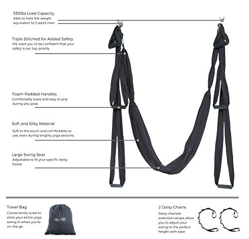 Aerial Yoga Swing - Ultra Strong Antigravity Yoga Hammock/Sling for Air Yoga Inversion Exercises - 2 Extensions Straps Included (Black)