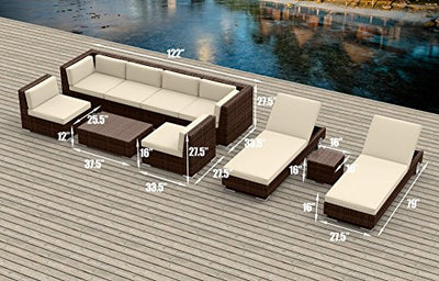19 Piece Outdoor Dining and Sofa Sectional Patio Furniture Set