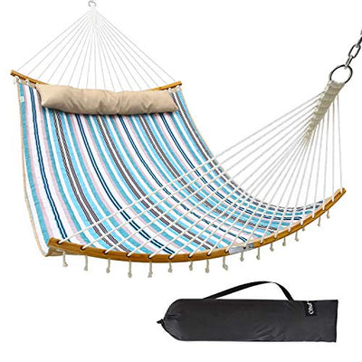 Ohuhu Double Hammock with Detachable Pillow, 2019 All New Curved-Bar Design Strong Bamboo Hammock Swing with Carrying Bag, 4.6'W x 6.2'L, Blue & White Stripe