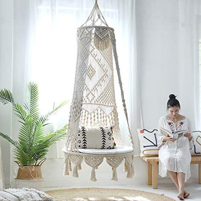 Original Hand-Woven Hanging Chair Hanging Basket, Bohemian Style Large Hanging Swing Indoor Sofa Basket Chair - Best Gift for Family Festival Furniture in Patio Home