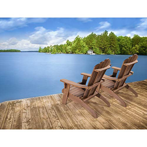 OT QOMOTOP Oversized Poly Lumber Adirondack Chair with Cup Holder, Fade-Resistant Lounge Chair with 350lbs Duty Rating, All-Weather Chair, 38L 30.25W 41.5H (Brown)