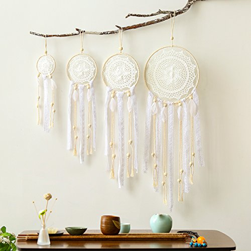 Boho Handmade White Feather Macrame Dream Catchers
