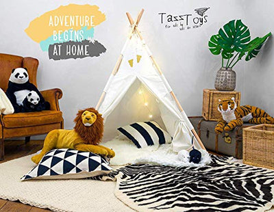 Teepee Tent for Kids with Fairy Lights +Waterproof Base + Feathers