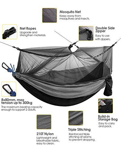 Kootek Camping Hammock with Mosquito Net Double & Single Portable Hammocks Parachute Lightweight Nylon with Tree Straps for Outdoor Adventures Backpacking Trips (Black & Grey, Small)
