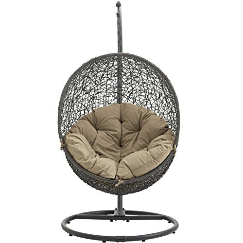 LexMod Hide Outdoor Patio Swing Chair: Gray Mocha