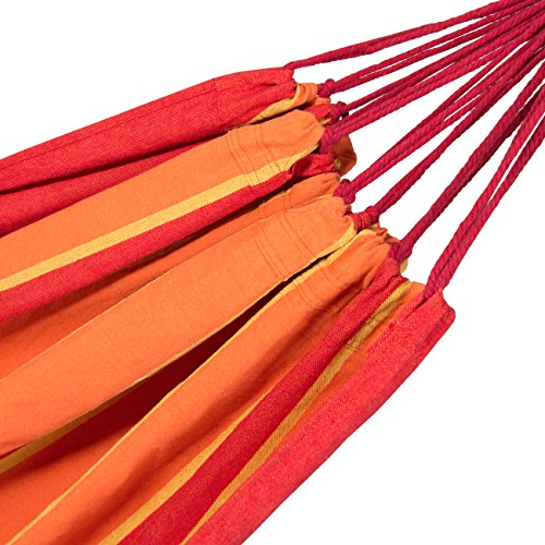 Best Choice Products Cotton Brazilian 2-Person Double Hammock Bed w/ Carrying Bag - Orange