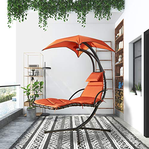 Floating Chaise Chair with Canopy Umbrella and Pillow