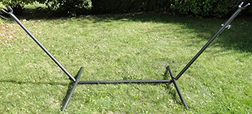 Hammock Universe Universal Hammock Stand 9.5 ft Heavy Duty Steel Stand for Non Spreader Bar Hammocks Including Brazilian, Mayan & Nicaraguan - Great for Outdoors, Patio, Backyard [Black]