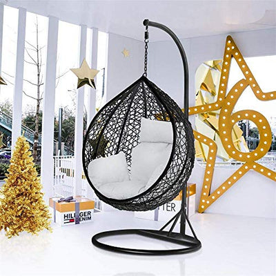 Black Rattan Wicker Swing Chair for Garden and Patio