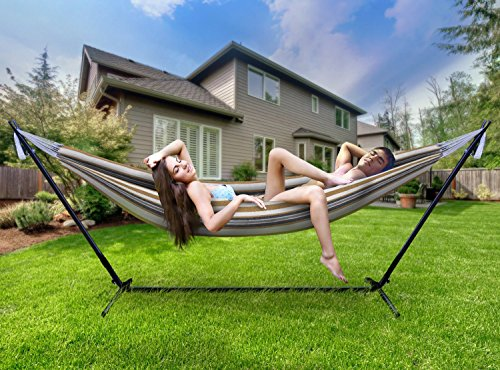 Sorbus Double Steel Stand Two Person Adjustable Hammock Bed-Storage Carrying Case Included (Desert-Brown Blue)