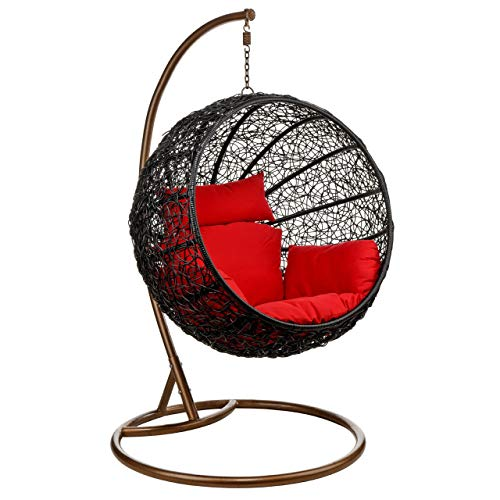 Wicker Rattan Hanging Egg Chair Swing with Cushion and Stand: Red