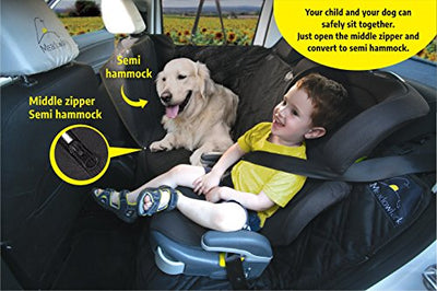 Meadowlark Dog car Seat Covers Unique Design & Full Car Protection-Doors,Headrests & Backseat. Extra Durable Zippered Side Flap, Waterproof Pet Seat Cover + Seat Belt & 2 Headrest Protectors as a Gift