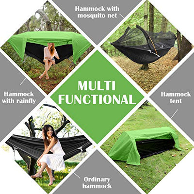 WintMing Patent Camping Hammock with Mosquito Net and Rainfly Cover (Green)