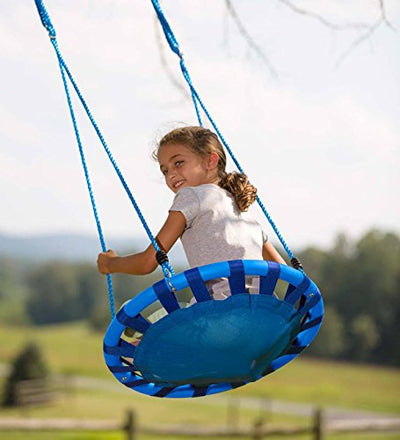 HearthSong ColorBurst Round Outdoor Platform Tree Swing for Yard