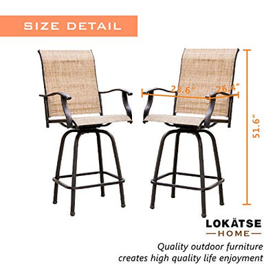 2 Piece Bar Height Patio Chairs Outdoor Swivel Stools Set