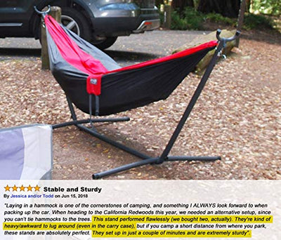 Zupapa 550LBS Weight Capacity Steel Hammock Stand| Adjustable Hooks Fits Hammocks 8 to 10.5 Feet Long, 2 Person, Space Saving Portable with Carrying Bag