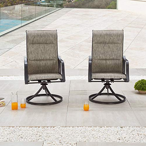 Outdoor Patio Swivel Chair Set Sling(Set of 2), 2, Grey