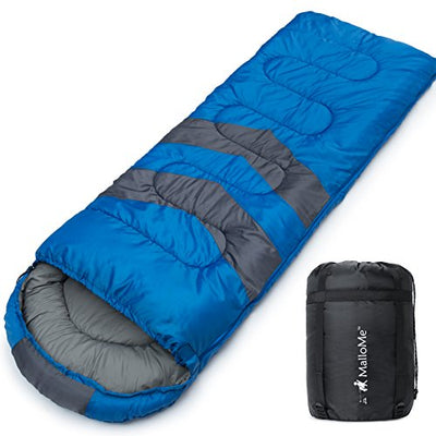 MalloMe Single Camping Sleeping Bag - 3 Season Warm Weather and Winter, Lightweight, Waterproof - Great for Adults & Kids - Excellent Camping Gear Equipment, Traveling, and Outdoor Activities