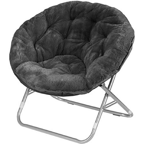 Very Comfortable Mainstays Faux-Fur Saucer Chair (Black)