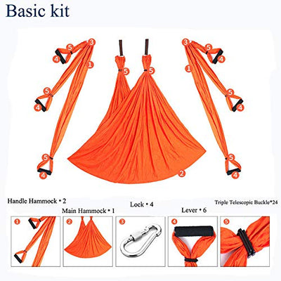 Chilly Aerial Yoga Swing Set - Yoga Hammock/Trapeze/Sling Kit + Extension Straps