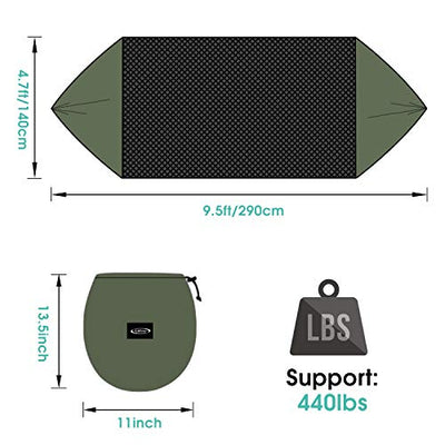 G4Free Large Camping Hammock with Mosquito Net 2 Person Pop-up Parachute Lightweight Hanging Hammocks Tree Straps Swing Hammock Bed for Outdoor Backpacking Backyard Hiking (New Army Green)