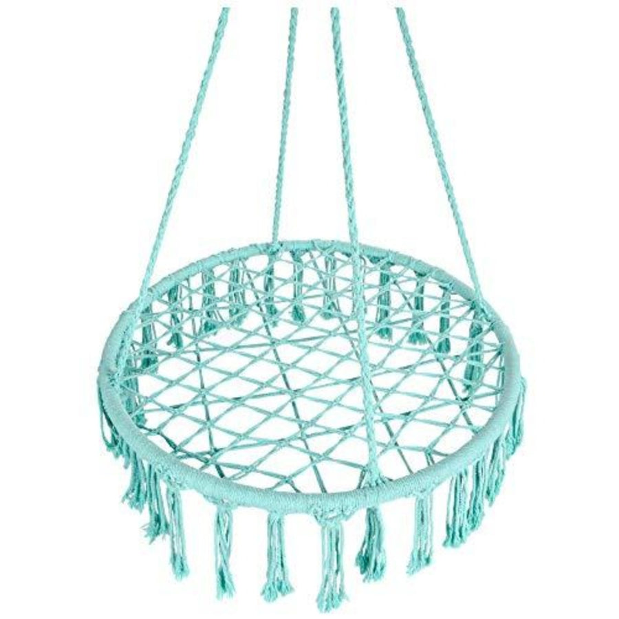 Handwoven Cotton Macrame Hammock Hanging Chair: Teal