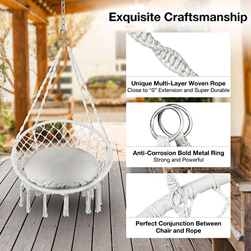 Greenstell Hammock Chair Macrame Swing with Cushion and Hanging Hardware Kits, Max 290 Lbs Hanging Cotton Rope Swing Chair, Comfortable Hanging Chairs for Indoor, Outdoor, Home, Patio, Yard (Beige)
