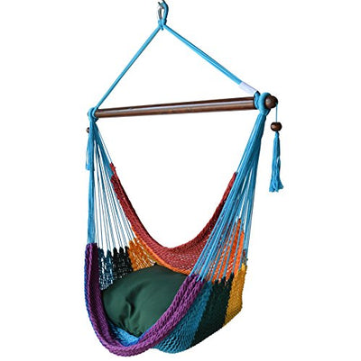 Caribbean Hammock Chair with Footrest - 40 inch - Soft-spun Polyester - (Rainbow)