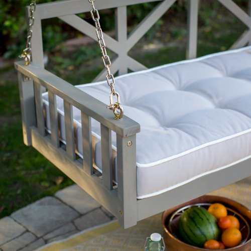 Modern Cottonwood Deep Seating Porch Swing Bed with Cushion